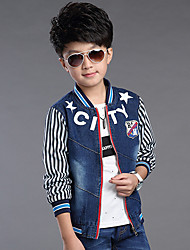 Boy's Cotton Spring/Autumn Fashion Cartoon Print Cowboy Outerwear Long Sleeve Stripes Sport Denim Baseball Jacket Coat