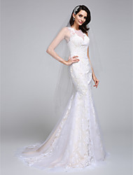 LAN TING BRIDE Trumpet / Mermaid Wedding Dress See-Through Court Train Jewel Lace Tulle with Appliques Lace