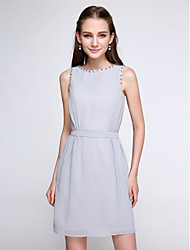 2017 Lanting Bride® Short / Mini Chiffon Color Block Bridesmaid Dress - Sheath / Column Jewel with Beading