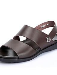 Sapatos Masculinos-Sandálias-Preto / Marrom-Pele-Casual