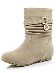 Women's Boots Fall / Winter Fashion Boots / Round Toe Office & Career / Dress / Casual Low Heel Ruffles / Chain