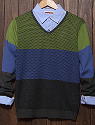 Men's Color Block Casual Pullover,Cotton Long Sleeve Green / Gray