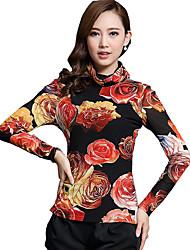 Tee-shirt Aux femmes,Imprimé Sortie Sexy Automne Manches Longues Col Roulé Orange Coton / Polyester Moyen