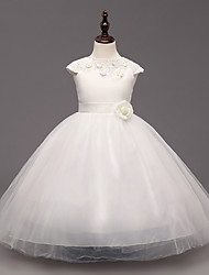 Ball Gown Ankle-length Flower Girl Dress - Lace / Organza Sleeveless Jewel with Flower(s)