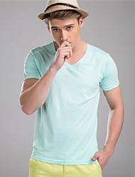 M. D® Hommes Col en V Manche Courtes T-shirt Blanc / Vert clair / Bleu royal-586