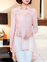 Women's New Fashion V Collar Lace Chiffon Long Sleeve Blouses