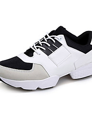 Men's Sneakers Spring Fall Comfort Tulle Leatherette Casual Athletic Flat Heel Lace-up Black White