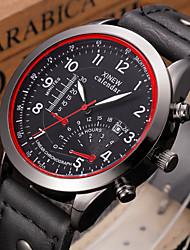Мужской Модные часы Календарь Кварцевый Кожа Группа Повседневная Черный Коричневый