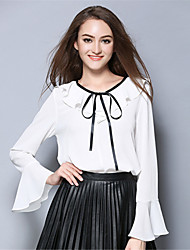 Women Plus Size Vintage Solid Bow Ruffle Long Sleeve Chiffon Pullover Blouse Top