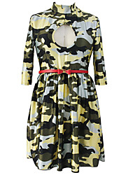 Women's Sexy Huntress Belted Camouflage Skater Dress