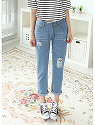 Pantalon Aux femmes Jeans / Mince Chic de Rue Coton / Polyester Non Elastique