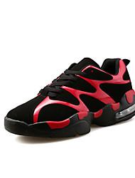 Feminino-TênisRasteiro-Branco Preto e Vermelho Preto e Branco-Couro Ecológico-Casual Para Esporte