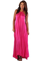 Women's Casual/Daily Sexy Loose Dress,Solid Halter Maxi Sleeveless