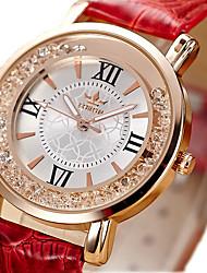Mujer Reloj de Moda Reloj de cristal flotante Cuarzo / La imitación de diamante PU Banda Cosecha Negro Blanco Rojo Rosa
