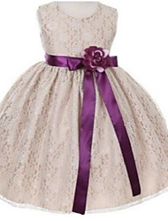Ball Gown Tea-length Flower Girl Dress - Lace Sleeveless Jewel with Flower(s) / Lace / Sash / Ribbon