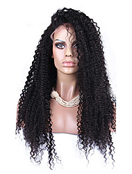 """8""""-12""""120% Brazilian Kinky Curly Wig Lace Front Human Hair Wigs Baby Hair Natural Color"""