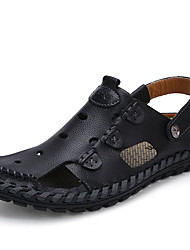 Men's Sandals Summer Leather Casual Flat Heel  Black Brown Yellow Walking