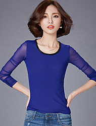 Mulheres Blusa Happy-Hour / Casual / Tamanhos Grandes Simples / Moda de Rua Primavera / Outono,Sólido Azul / Preto Algodão / Poliéster