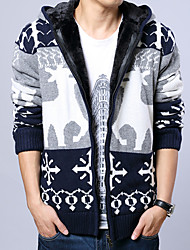 Men's Print Casual Cardigan,Cotton Long Sleeve Blue / Brown / Red / Gray