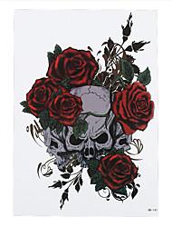 1pc Decal Rose Flower Skull Arm Waist Body Art Tattoo Temporary Tattoo Sticker HB-141