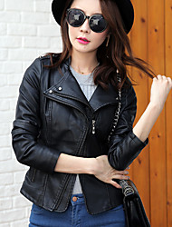 Women's Casual/Daily Simple Fall Leather Jackets,Solid Stand Long Sleeve Red / Black PU Medium