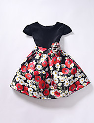 Girl's Casual/Daily Floral Dress,Cotton / Polyester Spring / Fall Black