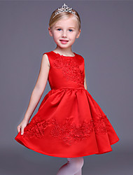 A-line Short / Mini Flower Girl Dress - Satin Jewel with Appliques