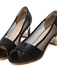 Women's Shoes Sparkling Glitter Heels Split Peep Toe Chunky Shoes with Low Heels Black and Gold Colors Available