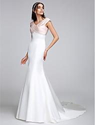lanting mariée lanting trompette / sirène robe de mariage de train balayage / pinceau v-cou satin stretch