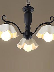 Ceramic Chandelier/ 3 Lights/ Country/ Painting Metal/ Living Room / Bedroom / Dining Room/220V or 110V