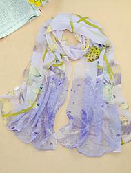 Women's Chiffon Flowers Print Scarf,Purple/Blue/Red/Pink/Yellow