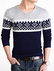 Men's Patchwork Casual Pullover,Polyester Long Sleeve Orange / Yellow / Gray
