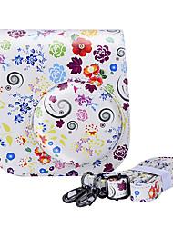 bloemen pu lederen tas met afneembare schouderriem en pocket voor Fujifilm instax mini 8 / 8+ onmiddellijke camera