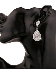 Silver Full Crystal Drop Earrings for Wedding Party Girl