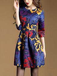 Trapèze Robe Femme Décontracté / Quotidien Grandes Tailles Vintage,Imprimé Col Arrondi Au dessus du genou Manches ¾ PolyesterToutes les
