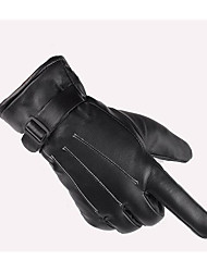 Men'S Water Washed Leather Three Reinforced Thick Winter Warm Winter Sun Protection Gloves