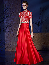 Formal Evening Dress A-line High Neck Floor-length Lace / Satin with Crystal Detailing / Lace