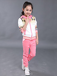 Girl's Cotton Spring/Autumn Sport Suit Set Floral Zipper Kids Hoodies And Pants Three-piece Set