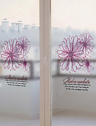 Window Film Window Decals Style Fashion Creative Flower Matte PVC Window Film - (60 x 58)cm