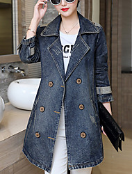 Women's Plus Size / Going out / Casual/Daily Simple Fall Denim Jackets,Solid Shirt Collar Long Sleeve Blue Cotton Medium