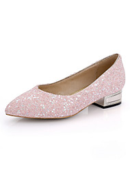Women's Pu Low Heels Pointed Closed Toe Assorted Color Pull On Pumps-Shoes