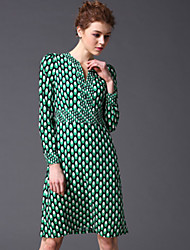 STEPHANIE  Women's Going out Vintage Sheath DressGeometric V Neck Above Knee Long Sleeve Blue / Green