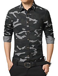 Men's Camouflage Casual / Work / Formal / Sport Shirt,Cotton Long Sleeve Blue / Green