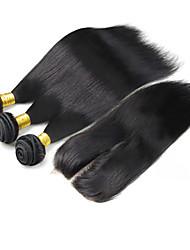 Trama do cabelo com Encerramento Cabelo Brasileiro Retas tece cabelo