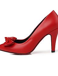 Черный / Красный-Женский-Для праздника / На каждый день-Полиуретан-На шпильке-На плокой подошве-Обувь на каблуках