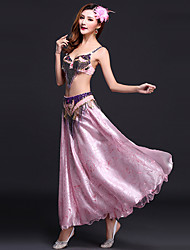 Belly Dance Outfits Women's Performance Satin / Tulle Sequins / Split Front / Tassel(s) 3 Pieces Fuchsia / Green / Pink