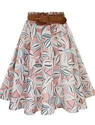 Damen Röcke - Einfach Knielang Baumwolle Mikro-elastisch