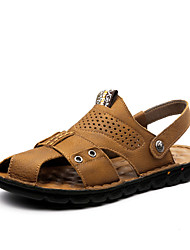 Men's Sandals Summer Open Toe / Sandals Leather Casual Flat Heel Others Black / Yellow / Khaki Walking