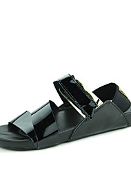 Men's Sandals Summer PU Casual Flat Heel Buckle Black Silver Gold Water Shoes