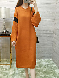 Women's Casual/Daily Street chic Sweater Dress,Solid Round Neck Midi Long Sleeve White Cotton All Seasons
